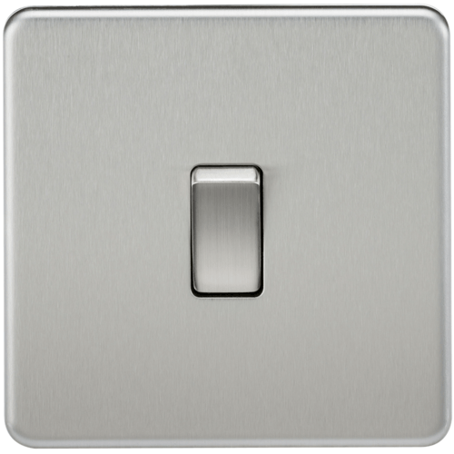 KnightsBridge 20A 1G DP 230V Screwless Brushed Chrome Electric Wall Plate Switch