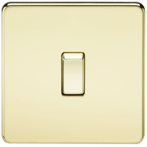KnightsBridge 20A 1G DP 230V Screwless Polished Brass Electric Wall Plate Switch