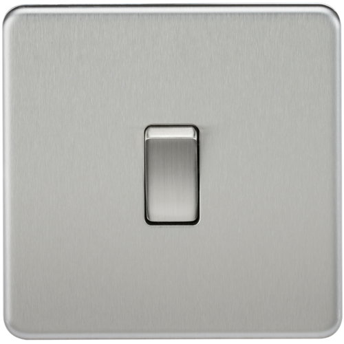 KnightsBridge 10A 1G 230V Screwless Brushed Chrome Intermediate Switch Wall Plate