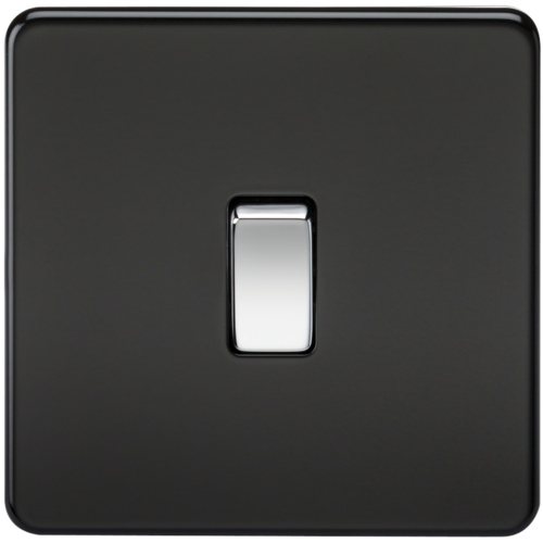 Compare prices for KnightsBridge 10A 1G 230V Screwless Matt Black Intermediate Switch Wall Plate