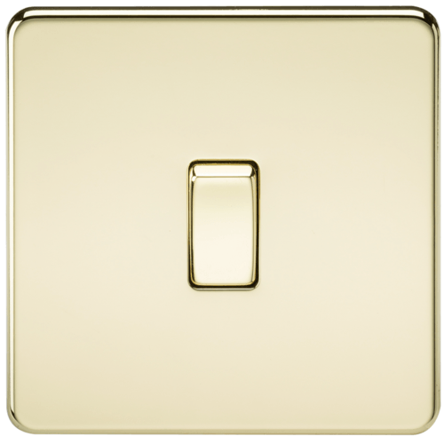 KnightsBridge 10A 1G 230V Screwless Polished Brass Intermediate Switch Wall Plate
