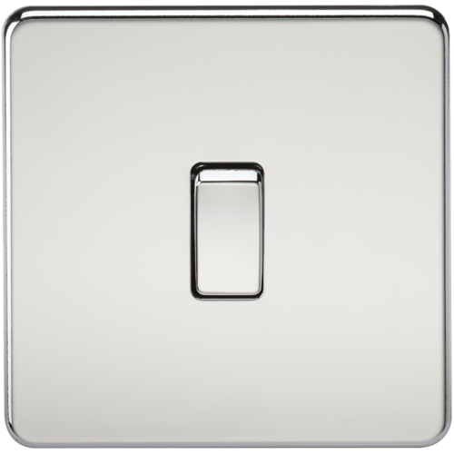 KnightsBridge 10A 1G 230V Screwless Polished Chrome Intermediate Switch Wall Plate  - Click to view a larger image