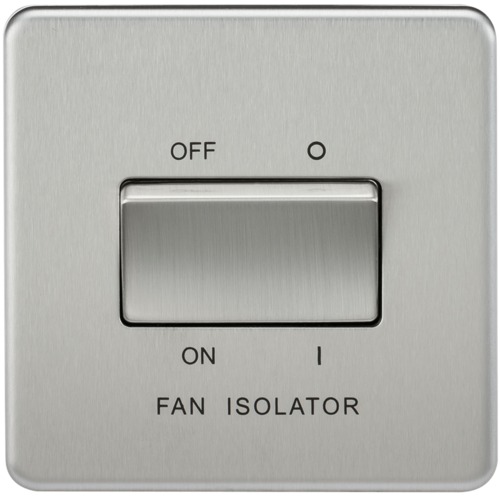 KnightsBridge 10A 1G 3 Pole 230V Screwless Brushed Chrome Electric Fan Isolator Switch  - Click to view a larger image