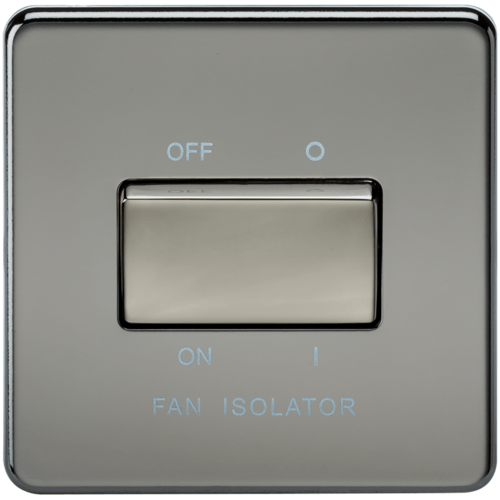 KnightsBridge 10A 1G 3 Pole 230V Screwless Black Nickel Electric Fan Isolator Switch  - Click to view a larger image