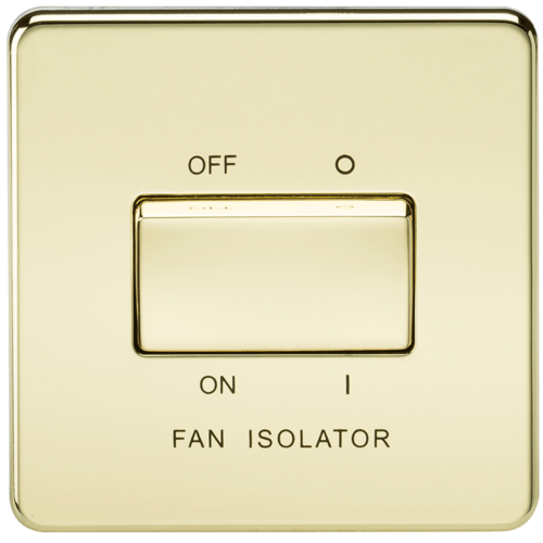 KnightsBridge 10A 1G 3 Pole 230V Screwless Polished Brass Electric Fan Isolator Switch  - Click to view a larger image
