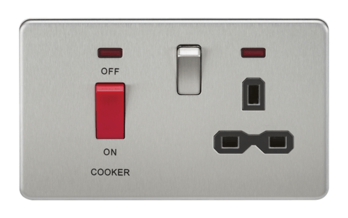 KnightsBridge 45A 2G DP 230V Screwless Brushed Chrome Switch With Neon & Socket KnightsBridge 45A 2G DP 230V Screwless Brushed Chrome Switch With Neon & Socket  - Click to view a larger image