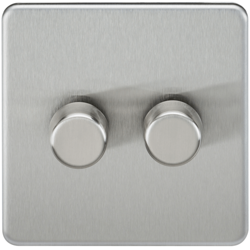 KnightsBridge 10-200W 2G 2 Way Screwless Brushed Chrome 230V Electric Dimmer Switch Led Compatible  - Click to view a larger image