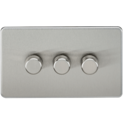 KnightsBridge 10-200W 3G 2 Way Screwless Brushed Chrome 230V Electric Dimmer Switch Led Compatible