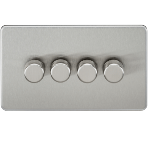 KnightsBridge 10-200W 4G 2 Way Screwless Brushed Chrome 230V Electric Dimmer Switch Led Compatible  - Click to view a larger image