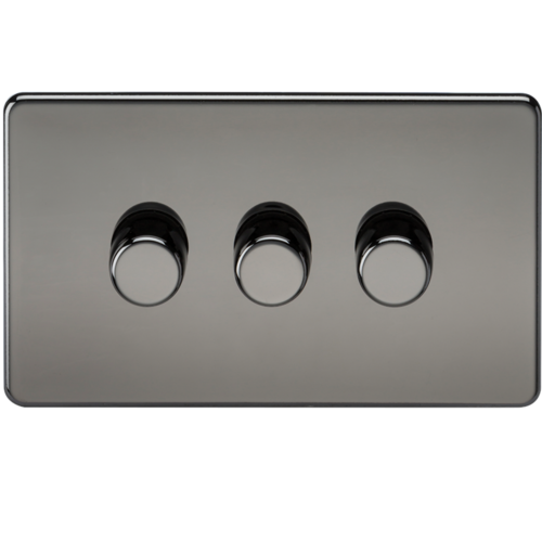 KnightsBridge 10-200W 3G 2 Way 230V Screwless Black Nickel Electric Dimmer Switch Led Compatible  - Click to view a larger image