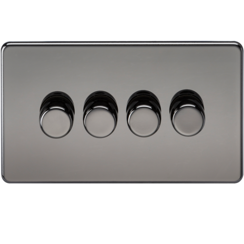 KnightsBridge 60-400W 4G 2 Way 230V Screwless Black Nickel Electric Dimmer Switch  - Click to view a larger image