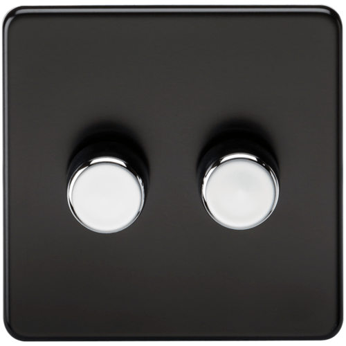 KnightsBridge 10-200W 2G 2 Way 230V Screwless Matt Black Led Compatible Electric Dimmer Switch  - Click to view a larger image