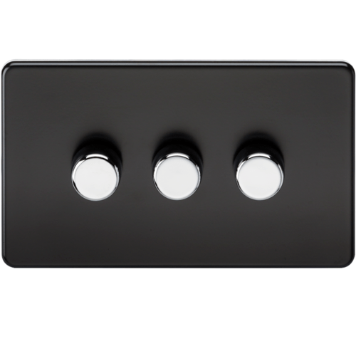 KnightsBridge 60-400W 3G 2 Way 230V Screwless Matt Black Electric Dimmer Switch  - Click to view a larger image