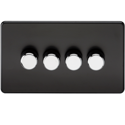 KnightsBridge 60-400W 4G 2 Way 230V Screwless Matt Black Electric Dimmer Switch