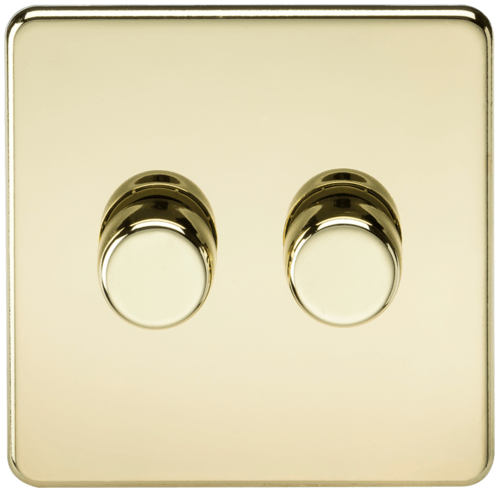 KnightsBridge 10-200W 2G 2 Way 230V Screwless Polished Brass Led Compatible Electric Dimmer Switch  - Click to view a larger image