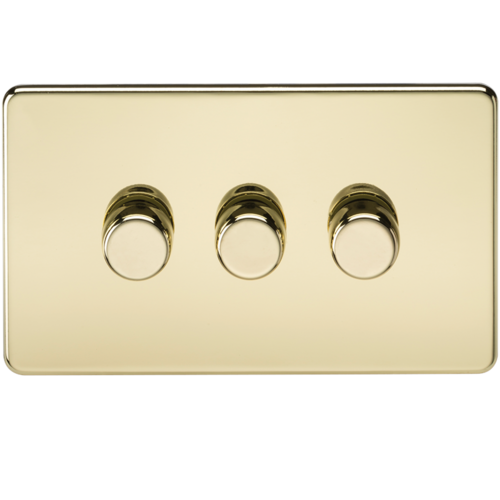 KnightsBridge 10-200W 3G 2 Way 230V Screwless Polished Brass Electric Dimmer Switch Led Compatible  - Click to view a larger image