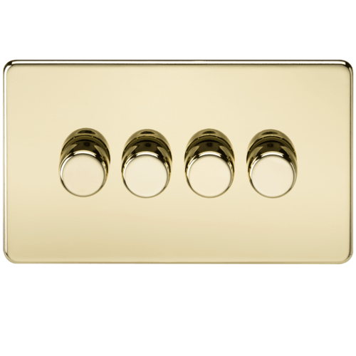 KnightsBridge 60-400W 4G 2 Way 230V Screwless Polished Brass Electric Dimmer Switch  - Click to view a larger image