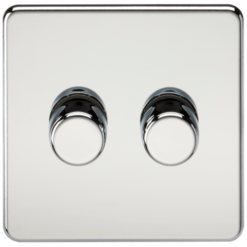 KnightsBridge 10-200W 2G 2 Way 230V Screwless Polished Chrome Electric Dimmer Switch Led Compatible  - Click to view a larger image