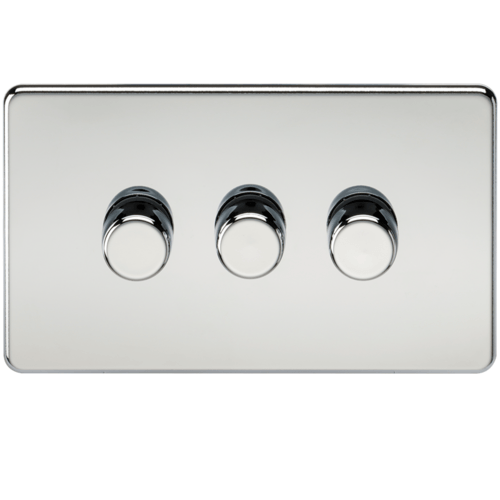 KnightsBridge 60-400W 3G 2 Way 230V Screwless Polished Chrome Electric Dimmer Switch  - Click to view a larger image