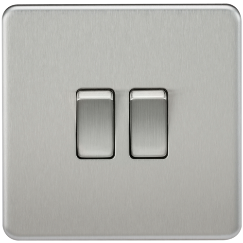 KnightsBridge 10A 2G 2 Way 230V Screwless Brushed Chrome Electric Wall Plate Switch  - Click to view a larger image