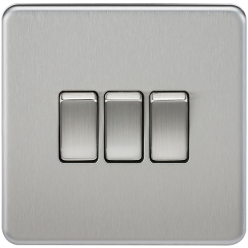 KnightsBridge 10A 3G 2 Way 230V Screwless Brushed Chrome Electric Wall Plate Switch  - Click to view a larger image