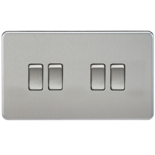 KnightsBridge 10A 4G 2 Way 230V Screwless Brushed Chrome Electric Wall Plate Switch  - Click to view a larger image
