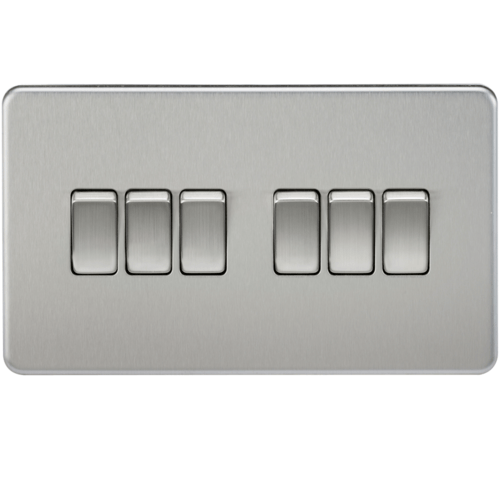 KnightsBridge 10A 6G 2 Way 230V Screwless Brushed Chrome Electric Wall Plate Switch  - Click to view a larger image