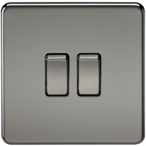 KnightsBridge 10A 2G 2 Way 230V Screwless Black Nickel Electric Wall Plate Switch  - Click to view a larger image