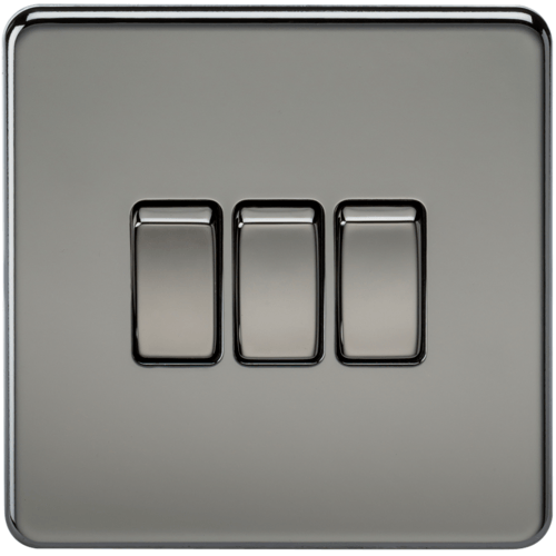 KnightsBridge 10A 3G 2 Way 230V Screwless Black Nickel Electric Wall Plate Switch  - Click to view a larger image