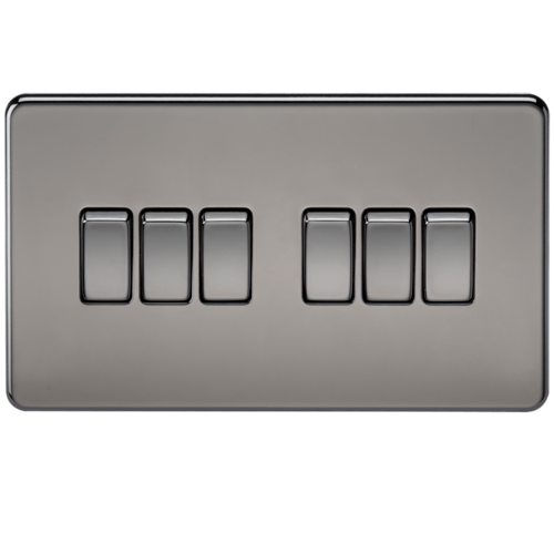 KnightsBridge 10A 6G 2 Way 230V Screwless Black Nickel Electric Wall Plate Switch  - Click to view a larger image