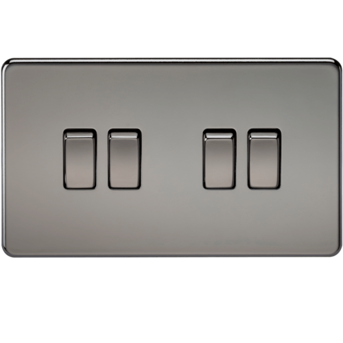 KnightsBridge 10A 4G 2 Way 230V Screwless Black Nickel Electric Wall Plate Switch