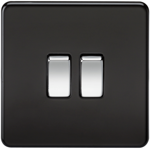 KnightsBridge 10A 2G 2 Way 230V Screwless Matt Black Electric Wall Plate Switch  - Click to view a larger image