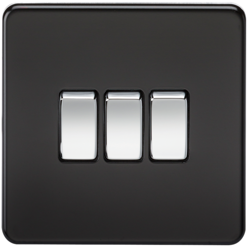 KnightsBridge 10A 3G 2 Way 230V Screwless Matt Black Electric Wall Plate Switch  - Click to view a larger image