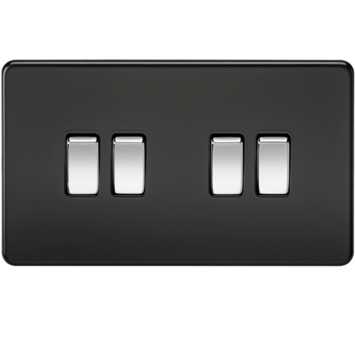 KnightsBridge 10A 4G 2 Way 230V Screwless Matt Black Electric Wall Plate Switch  - Click to view a larger image
