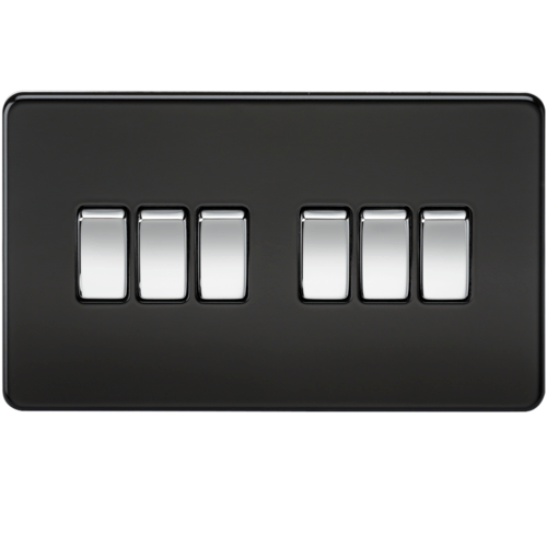 KnightsBridge 10A 6G 2 Way 230V Screwless Matt Black Electric Wall Plate Switch  - Click to view a larger image