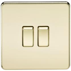 KnightsBridge 10A 2G 2 Way 230V Screwless Polished Brass Electric Wall Plate Switch