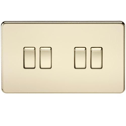 KnightsBridge 10A 4G 2 Way 230V Screwless Polished Brass Electric Wall Plate Switch  - Click to view a larger image