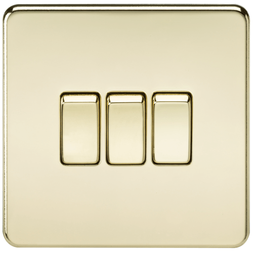 KnightsBridge 10A 3G 2 Way 230V Screwless Polished Brass Electric Wall Plate Switch  - Click to view a larger image