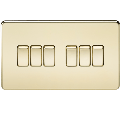 KnightsBridge 10A 6G 2 Way 230V Screwless Polished Brass Electric Wall Plate Switch  - Click to view a larger image