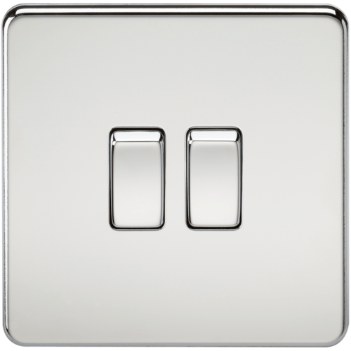 KnightsBridge 10A 2G 2 Way 230V Screwless Polished Chrome Electric Wall Plate Switch  - Click to view a larger image