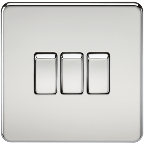 KnightsBridge 10A 3G 2 Way 230V Screwless Polished Chrome Electric Wall Plate Switch  - Click to view a larger image