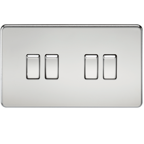 KnightsBridge 10A 4G 2 Way 230V Screwless Polished Chrome Electric Wall Plate Switch  - Click to view a larger image