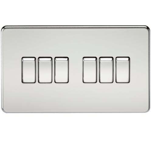 KnightsBridge 10A 6G 2 Way 230V Screwless Polished Chrome Electric Wall Plate Switch
