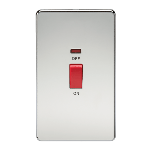 KnightsBridge 45A 2G DP 230V Screwless Polished Chrome Electric Switch With Neon  - Click to view a larger image