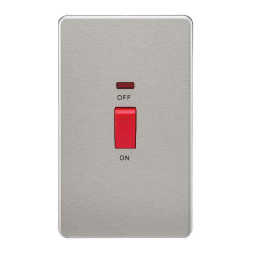 KnightsBridge 45A 2G DP 230V Screwless Brushed Chrome Switch With Neon  - Click to view a larger image