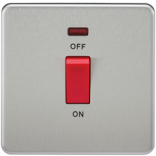 KnightsBridge 45A 1G DP 230V Screwless Brushed Chrome Switch With Neon  - Click to view a larger image