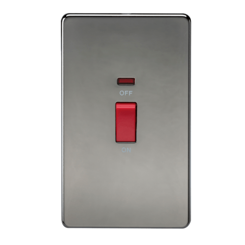 KnightsBridge 45A 2G DP 230V Screwless Black Nickel Electric Switch With Neon  - Click to view a larger image