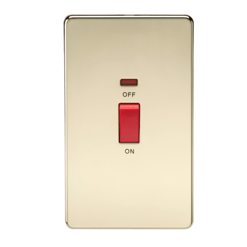 KnightsBridge 45A 2G DP 230V Screwless Polished Brass Electric Switch With Neon  - Click to view a larger image