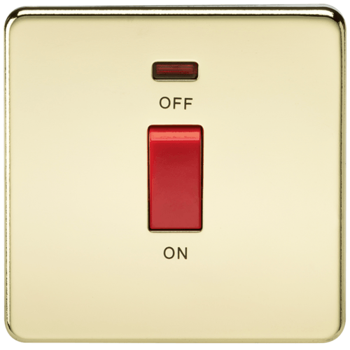 KnightsBridge 45A 1G DP 230V Screwless Polished Brass Electric Switch With Neon and Switch  - Click to view a larger image