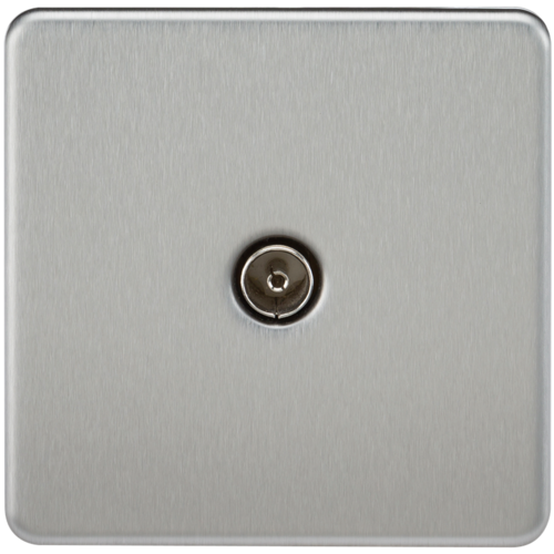 KnightsBridge Coaxial TV Outlet 1G Screwless Brushed Chrome Un-Isolated Wall Plate  - Click to view a larger image